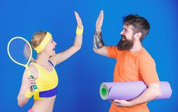 Respect All, Fear None. Athletic Success. Sport equipment. Strong muscles and body. Happy woman bearded man workout in royalty free stock photography