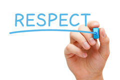 Respect Blue Marker. Hand writing Respect with blue marker on transparent wipe board stock photos