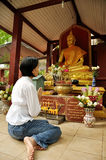 Respect Buddha. Thai lady pay respect to the Buddha stock photo