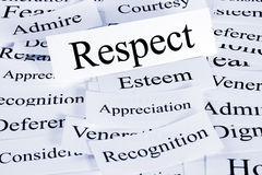 Respect Concept. A conceptual look at respect, esteem, appreciation, recognition stock photography