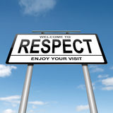 Respect concept. Illustration depicting a white roadsign with a respect concept. Blue sky  background Royalty Free Stock Photos