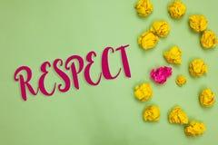 Respect d'écriture des textes d'écriture Sentiment de signification de concept d'admiration profonde pour quelqu'un ou quelque ch photo stock