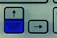 Respect d'honnêteté de confiance des textes d'écriture de Word Concept d'affaires pour des traits respectables une facette de bon photo libre de droits