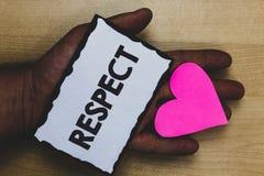 Respect des textes d'écriture Sentiment de signification de concept d'admiration profonde pour quelqu'un ou quelque chose lov gen images libres de droits