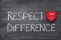 Respect difference heart. Respect difference phrase written on chalkboard with red heart symbol royalty free stock photo