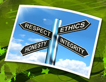 Respect Ethics Honest Integrity Sign Means Good Qualities. Respect Ethics Honest Integrity Sign Meaning Good Qualities Stock Photos