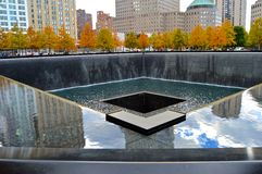 Respect. On the memorial fountains in the ground zero royalty free stock photo