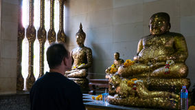 Respect old Buddha statue. Royalty Free Stock Photos
