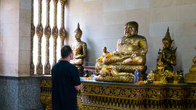 Respect old Buddha statue. Royalty Free Stock Photo