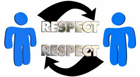 Respect People Arrows Mutual Shared Understanding. 3d Illustration Stock Photography