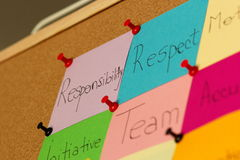 Respect post-it on coarkboard background Stock Photography