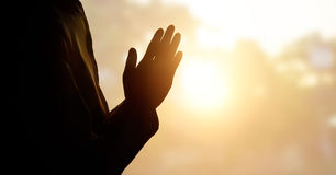 Respect and pray on nature background. Respect and pray on sunset background Stock Photos