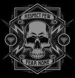 Respect skull lightning t-shirt graphic. Vector design of skull and lightning frame graphic suitable for multiple uses Royalty Free Stock Photos