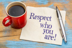 Respect who you are - napkin note Stock Photography