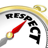 Respect Word Gold Compass Direction Earn Reputation Advice Stock Photo