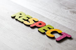 Respect. Word respect spelled in colourful alphabet letters stock photos