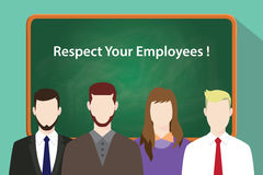 Respect your employees white text on green chalkboard illustration with four people standing in front of the chalkboard Royalty Free Stock Photos
