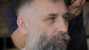 A respectable businessman with a white beard in the salon for hair. The stylish barber comb and trim work. stock video