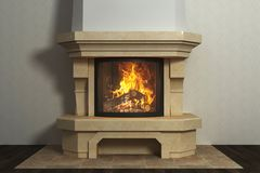 Respectable fireplace in classical interior. Respectable marble fireplace in nice classical interior stock photography
