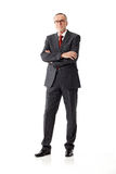 Respectable senior businnes man standing on white backround. Respectable senior businnes man with grey suit, isolated stock photo
