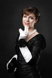 Respectable woman in white gloves Royalty Free Stock Photography