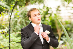 Respectable young man. In the green garden royalty free stock images