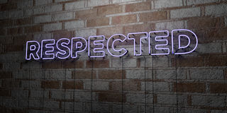 RESPECTED - Glowing Neon Sign on stonework wall - 3D rendered royalty free stock illustration Royalty Free Stock Photos
