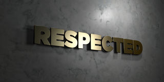 Respected - Gold text on black background - 3D rendered royalty free stock picture Stock Photography