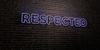 RESPECTED -Realistic Neon Sign on Brick Wall background - 3D rendered royalty free stock image Stock Images