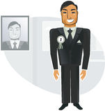 Respected worker in vector. Respected worker in the background of his portrait Royalty Free Stock Photos