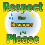 Respeite nossos recursos Foto de Stock