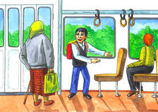 Respeito às pessoas idosas no transporte Imagens de Stock