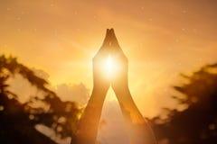 Respektieren Sie und beten Sie auf Naturhintergrund Stockfoto