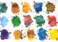 Respingo abstrato da pintura do projeto do fundo da aguarela Foto de Stock Royalty Free