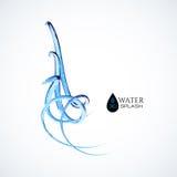 Respingo azul da água 3D isolado no branco Fotografia de Stock Royalty Free