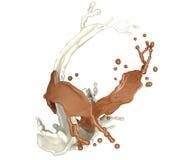 Respingo branco e marrom do chocolate isolado no branco ilustração stock