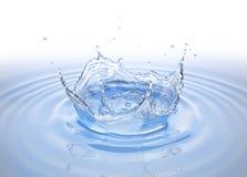 Respingo claro da coroa da água na associação de água com ondinhas imagens de stock royalty free