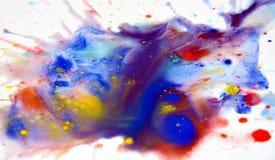 Respingo colorido macio da aquarela no fundo branco Foto de Stock Royalty Free
