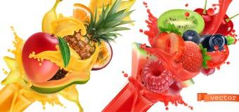 Respingo da explosão do fruto do suco grupo do ícone do vetor 3d Imagens de Stock