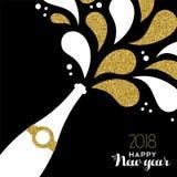 Respingo 2018 da garrafa do brilho do ouro do ano novo feliz ilustração stock