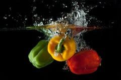Respingo da pimenta vermelha, amarela, verde Foto de Stock Royalty Free