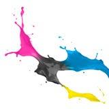 Respingo da pintura de CMYK imagens de stock