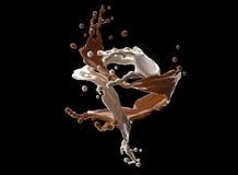 Respingo do chocolate branco e marrom com trajeto de grampeamento ilustração royalty free