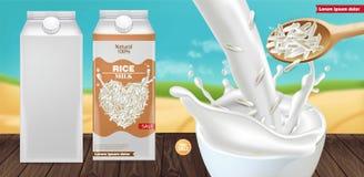 Respingo do leite do arroz trocista acima do vetor realístico A coloca??o do produto anuncia Gr?es detalhadas Projeto do molde da ilustração stock