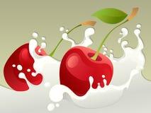 Respingo do leite com cereja Foto de Stock