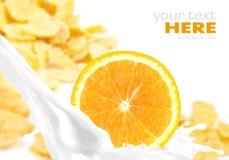 Respingo do leite com a laranja em flocos de milho fotografia de stock royalty free