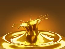 Respingo do metal derretido do ouro com ondas Fotos de Stock Royalty Free