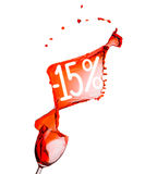 Respingo do vinho tinto. disconto de uma venda de 15 por cento. Isolado nos vagabundos brancos Foto de Stock
