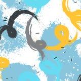 Respingo expressivo das escovas do grunge do vetor Fundo amarelo azul moderno Projeto artístico colorido imagem de stock royalty free