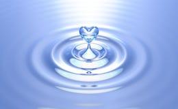 Respingo puro da água do coração com ondinhas fotografia de stock royalty free